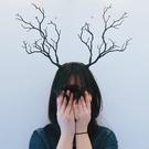 聖誕節髮飾 復古仿真樹枝森女頭箍圣誕節寫真影樓拍攝道具鹿角頭飾髮夾髮箍JY