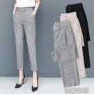 哈倫褲九分哈倫褲女春季寬鬆百搭鬆緊腰灰色褲子直筒顯瘦小西褲 快速出貨