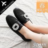 樂福鞋 韓國空運 版型偏小 OL氣質款 方環鑽飾 高質感 皮革 漆皮 優雅平底鞋【F713019】2色 SD韓美鞋