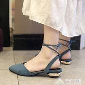 韓版包頭涼鞋女繫帶後空尖頭軟妹百搭粗跟穆勒單鞋子潮 三角衣櫃
