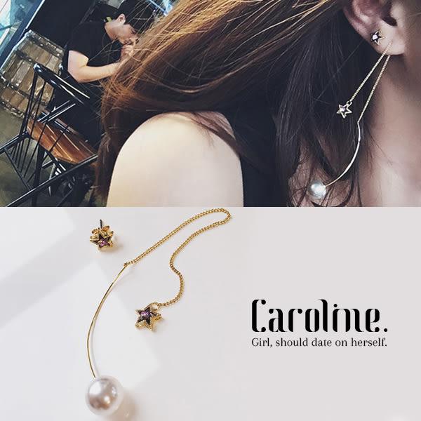 《Caroline》★韓國時尚五角星不對稱 風格時尚流行耳環68875