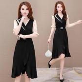西裝裙 夏季洋裝女裝遮肚子收腰顯瘦顯高氣質輕熟風黑色長裙-Ballet朵朵