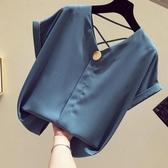 V領雪紡衫女短袖2020新款韓版寬鬆黃色襯衫洋氣小心機露背上衣夏