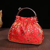 中國風小拎包零錢包化妝包金絲織錦緞復古手提包麻將包送老外禮品