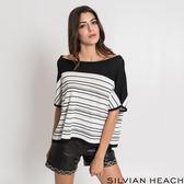 薄針織 黑白條紋船領上衣/SILVIAN HEACH