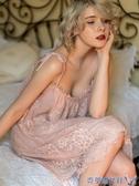性感睡衣女夏冰絲情趣宮廷風孕婦私房蕾絲春秋公主風吊帶睡裙火辣 快速出貨