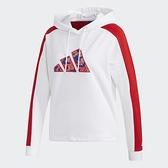 Adidas CNY 女裝 長袖 帽T 休閒 渦紋圖案 可調式下襬 兩側口袋 農曆新年 白紅【運動世界】GP0710