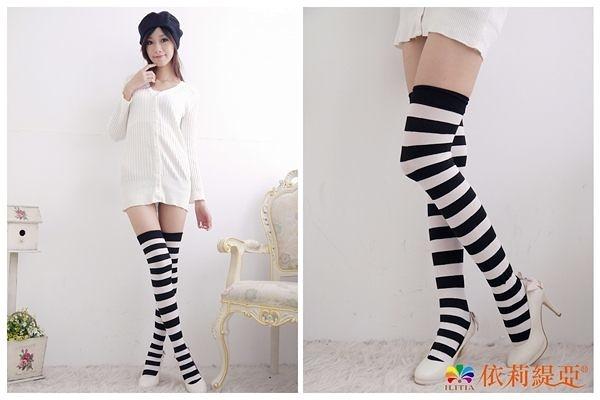 Amiss【A302-6】流行橫條大腿襪❤