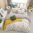 鴻宇 雙人加大兩用被套床包組 100%精梳純棉 如茵草 台灣製C20102