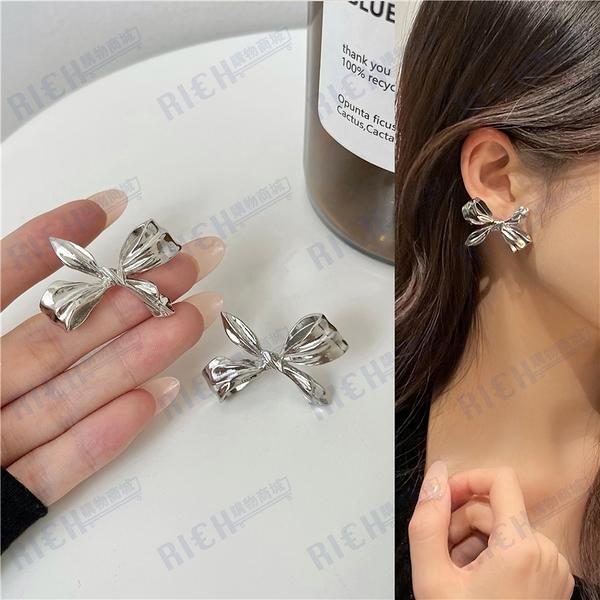 S925銀針 韓國高級感金屬蝴蝶結耳釘女2021年新款潮耳環耳夾