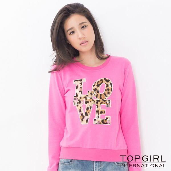 TOP GIRL 休閒LOVE圓領T-深麻灰