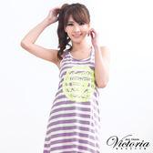 Victoria 馬卡龍色條紋背心裙-女-粉紫