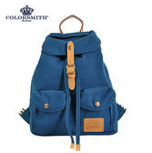 【COLORSMITH】RB.輕束繩雙口袋後背包-藍色.RB1342-BL-S