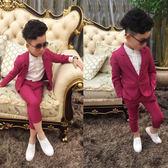 全館八折最後兩天-男童西裝套裝兒童西服休閒二件套2018春夏新款中大童花童禮服正韓