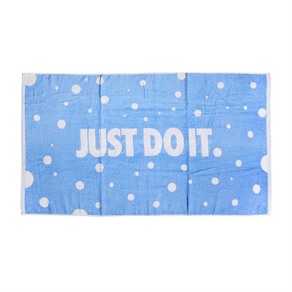 Nike 運動毛巾 Sports Towel 藍 白 大毛巾 浴巾 純棉 吸汗 點點 【ACS】 JD180-2BL