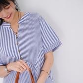 【慢。生活】交錯設計色織條紋小衫 8593  FREE 藍條