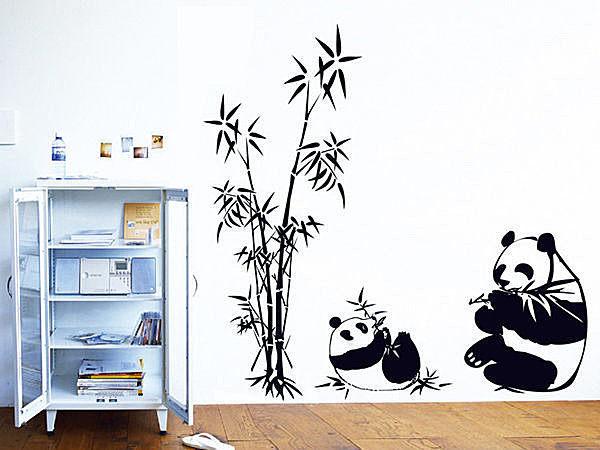 高品質創意牆貼 壁貼 背景貼 磁磚貼 壁貼樹 時尚組合壁貼 大熊貓【YV3472】BO雜貨