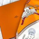 BRAND楓月 HERMES 愛馬仕 橘色 巴洛克 風格 藝術風絲 大方巾 圍巾 綁帶 配件 裝飾