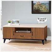 【水晶晶家具/傢俱首選】CX1399-6 喬伊4尺淺胡桃色仿石紋(非石面)全木心板電視長櫃