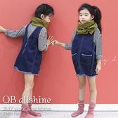 女童吊帶裙 正反穿造型拉練毛邊口袋牛仔連身背帶裙 韓國外貿中大童 QB allshine