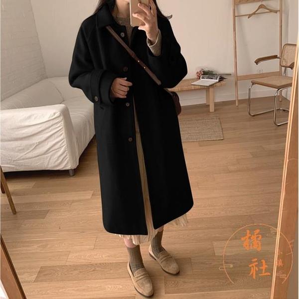 大衣女中長款秋冬寬鬆休閒外套氣質顯瘦風衣【橘社小鎮】