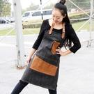 韓版牛仔圍裙 男女高端美術美容繪畫咖啡店皮布拼接圍裙訂製LOGO店名  快速出貨