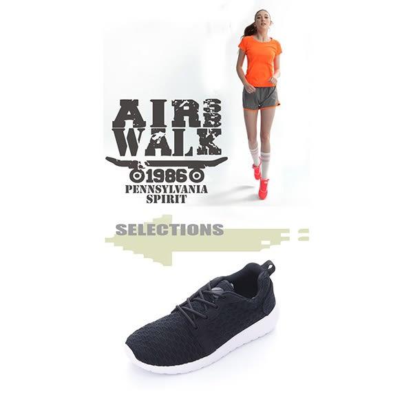 美國AIRWALK  比麗 蜂巢式格紋洞洞休閒慢跑鞋 - 女黑