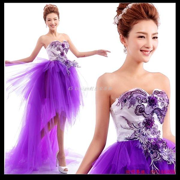 (45 Design) 訂做款式7天到貨  紫色花朵抹胸新娘前短後長綁帶拖尾婚紗小禮服晚裝敬酒服