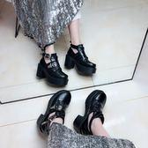包郵韓國新款原宿街頭風朋克機車黑色短馬丁靴厚底松糕高跟粗跟鞋