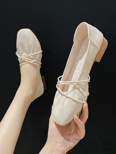 仙女夏季單鞋女粗跟中跟年新款百搭軟底軟皮溫柔奶奶豆豆鞋子