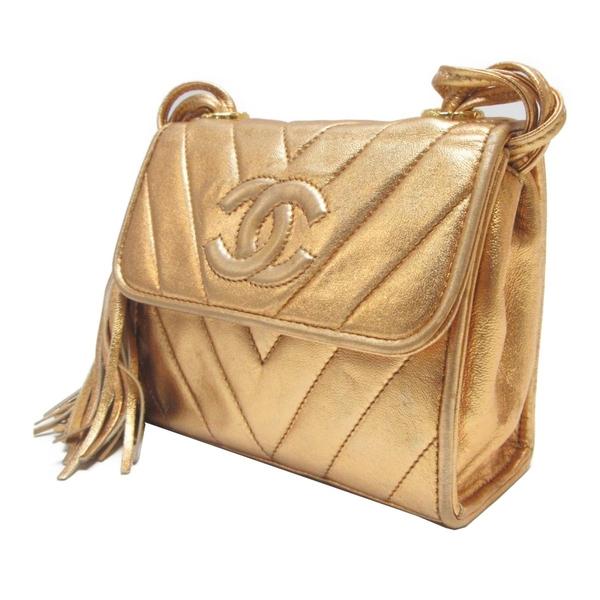 CHANEL 香奈兒 金箔色人字紋牛皮流蘇小方包 Vintage Tassel Flap Bag【BRAND OFF】