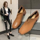 粗跟單鞋女兩穿新款方頭樂福鞋英倫風百搭中跟女鞋春秋小皮鞋 3C優購