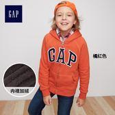 Gap男童 Logo撞色長袖連帽運動衫 358116-橘紅色