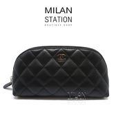 【台中米蘭站】CHANEL COCO黑色羊皮彎月拉鍊化妝包