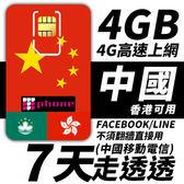 【TPHONE上網專家】中國移動 7日 4GB大流量 4G高速上網 香港可用 不須翻牆 FB/LINE直接用