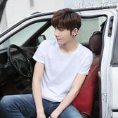 夏季潮流男士短袖T恤衫打底寬鬆純色韓版白色半袖體桖男裝上衣服MOON衣櫥