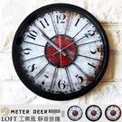 loft工業風 復古紅地圖生繡鐵皮造型靜音 商店牆面設計歐式懷舊牆面裝擺飾特色時鐘-米鹿家居