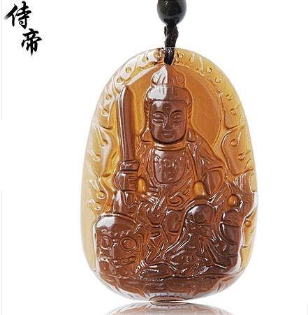 水晶項鏈 冰種黑曜石八大守護神生肖馬本命佛男女掛件飾品