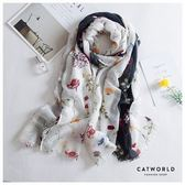 Catworld 花卉拼色棉麻柔織圍巾【18003376】‧F