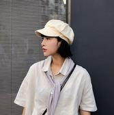貝雷帽女秋冬韓版八角帽日系黑色報童畫家帽復古百搭鴨舌薄款帽子  電購3C