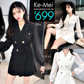 克妹Ke-Mei【ZT53916】歐洲站 奢華雙排釦併拉雪紡袖西裝外套+短褲套裝