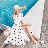 波西米亞風洋裝 慵懶風黑白波點連身裙夏綁帶收腰顯瘦開叉海邊度假長裙OB4463『毛菇小象』
