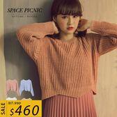 針織 上衣 Space Picnic|柔感圓領不規則下擺設計針織上衣(現貨)【C18103082】