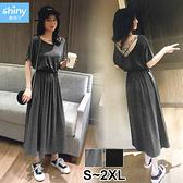 【V3129】shiny藍格子-微夏甜氛‧字母織帶交叉美背收腰短袖洋裝