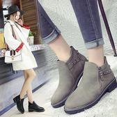 馬丁靴 中大尺碼女2018新款英倫風短靴底跟春秋韓版時尚百搭靴子 KB8797【歐爸生活館】
