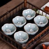 汝窯功夫茶具鑲銀純手工茶杯個性陶瓷主人杯單杯單個小茶杯品茗杯