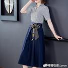 夏裝新款女流行條紋法式洋裝收腰顯瘦氣質襯...