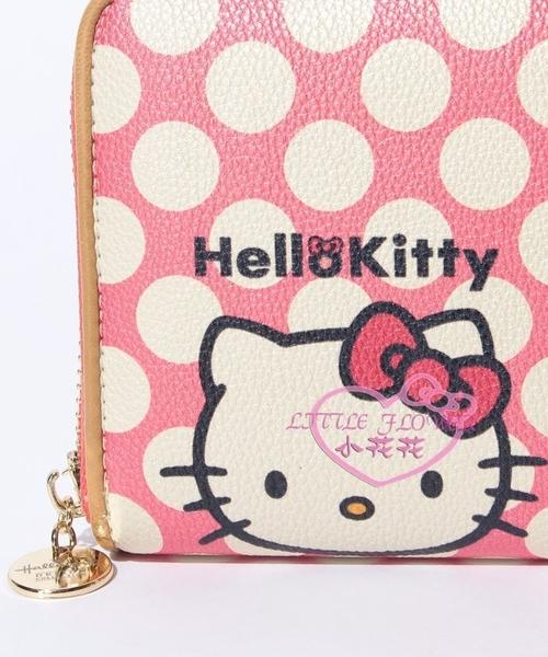 ♥小花花日本精品♥ Hello kitty凱蒂貓粉色大白點點壓紋長夾皮夾長皮夾夾層多容量大42114406