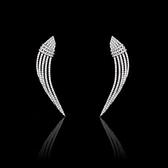 耳環 925純銀 鑲鑽-奢華大方生日情人節禮物女飾品73hz73【時尚巴黎】