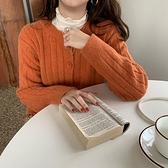 毛衣外套 學院風紐扣毛衣開衫短款上衣女韓版寬松豎條紋顯瘦針織衫外套披肩 風尚